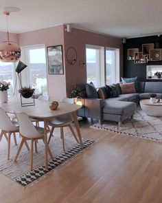 ideas for DIY kitchen apartment decor sala de jantar - Wohnkultur Wohnung - Living Room Grey, Home Living Room, Apartment Living, Apartment Kitchen, Blush Pink Living Room, Blush Grey Copper Living Room, Living Room Decor For Apartments, Pink Living Room Paint, Apartment Design