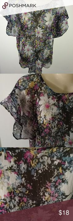 AIRY FLORAL TOP ~~ HAPPY GO TO Design as Shown Very Gently used Condition Sleeves are slightly Puffy Semi Sheer but not see through This top says 'Happy' love fire Tops