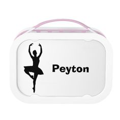 """""""Ballerina"""" Personalized Lunch Box will be great for back-to-school! Includes large (sandwich) container, two small containers, and ice pack. 100% dishwasher safe (excluding faceplates)."""