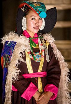 Ladakhi  A Ladakhi woman from the state of Jammu and Kashmir.