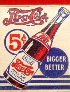 An old Pepsi Cola ad Old Posters, Posters Vintage, Retro Poster, Images Vintage, Vintage Ads, Vintage Signs, Logo Vintage, Vintage Photographs, Old Advertisements