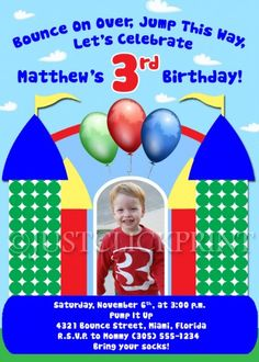Bounce House Fun Birthday Invitation Primary Colors - Printable
