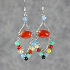 chandelier earrings dangle stone colorful handmade ani design. $15.95, via Etsy.
