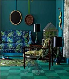 Peacock Blue.  Cobalt blue may work in bedroom, but almost need the yellowish green too