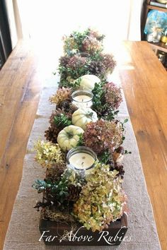 Organic Fall decorating ideas for indoors. Far Above Rubies: Organic Fall decorating ideas for indoors. Thanksgiving Table, Thanksgiving Decorations, Seasonal Decor, Autumn Decorations, Christmas Tables, Holiday Tables, Deco Floral, Arte Floral, Autumn Nature