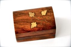 Vintage Wood Jewelry Box with Brass Inlay by Pamplepluie on Etsy