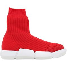 Elena Iachi Women 30mm Rib Knit Sock Pull-on Sneakers ($450) ❤ liked on  Polyvore featuring shoes, sneakers, red, slip on trainers, elena iachi, pull  on ...