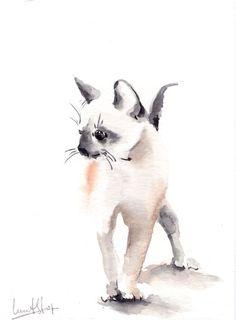 Original Watercolor Painting of Kitten Cat Art Watercolour Art (56.00 USD) by CanotStop