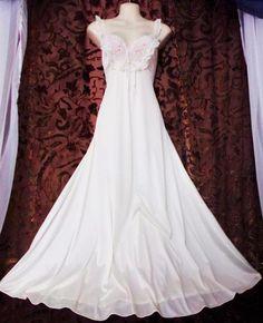 SOLD- 60's 70's S.Vtg.Ultra soft Vanity Fair shimmer white vintage nightgown,Bridal #VanityFair