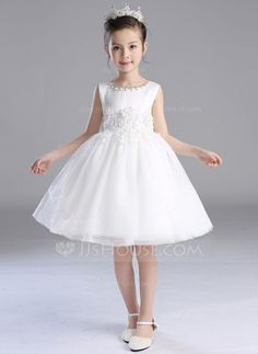 [US$ 48.99] A-Line/Princess Knee-length Flower Girl Dress - Satin/Polyester…