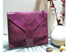 Vintage YSL Authentic Yves Saint Laurent Canvas Leather Y Handbag Clutch Bag