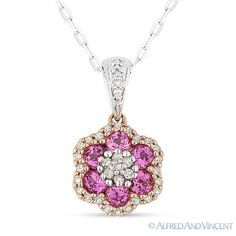 The featured pendant is cast in 14k rose & white gold and showcases a finely crafted flower design adorned with round cut pink corundum (lab-created) gemstones and round cut diamond accents.