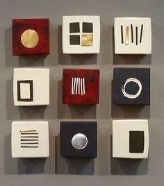 Wall tiles: Nine Squares: Lori Katz: Ceramic Wall Art - Artful. Ceramic Wall Art, Tile Art, Wood Wall Art, Wall Tiles, Art Texture, Panel Wall Art, Sgraffito, Wall Sculptures, Clay Art