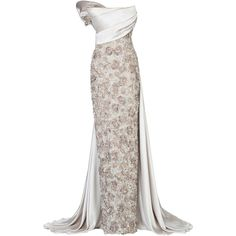 Maison Yeya Saki Beaded Gown ($8,400) ❤ liked on Polyvore featuring dresses, gowns, long dress, wedding, grey, long dresses, grey dress, strapless maxi dress, gray maxi dresses and grey gown