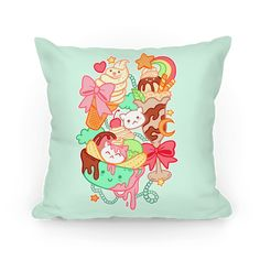 Cute Cat Sundae & Kawaii Ice Cream - A cute cat sundae and some kawaii ice scream pillow for the dessert lover. Pastel colors and kawaii kittens make this design absolutely adorable and sweet as a banana split. So satisfy that sweet tooth with some yummy ice cream.
