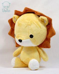 Cute Bellzi Yellow w/ White Contrast Lion Plushie Doll 11 inch - Lioni