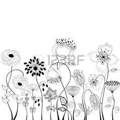 Line art illustration: Floral background