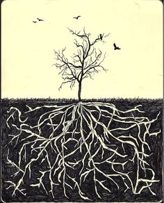 Love the tree and the roots. tattoo maybes...?