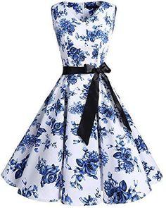 Bridesmay Women's V-Neck Audrey Hepburn Vintage Elegant Floral Rockabilly Swing Cocktail Party Dress - Audrey Hepburn, Rockabilly, Robe Swing, Swing Dress, Tie Front Dress, V Neck Dress, Pin Up, Club Dresses, Sexy Dresses