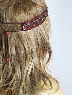 Boho Headband Hair Band Leather Suede Headband  For by selenayy