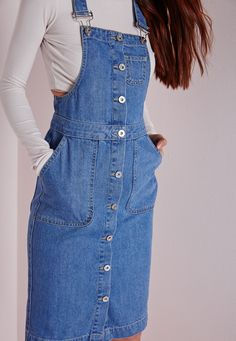 Denim Pinafore Button Down Midi Dress - Dresses - Day Dresses - Missguided Modest Outfits, Skirt Outfits, Modest Fashion, Casual Outfits, Cute Outfits, Fashion Outfits, Fashion Skirts, Denim Midi Dress, Denim Overall Dress