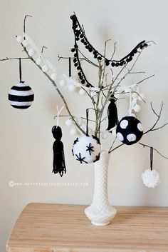 A Tabletop Tree by ohsohappytogether  • black & white ornaments