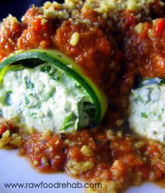 Raw/ Vegan Spinach Manicotti with Tomato Sauce - Raw Food Rehab