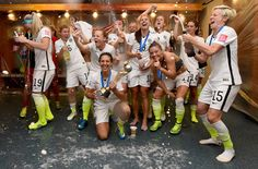 The USWNT celebrates their Women's World Cup win over Japan