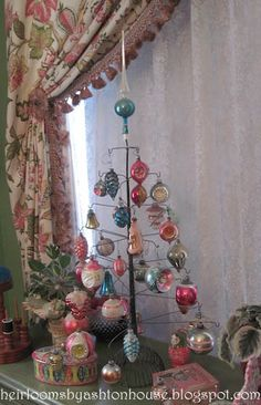 Heirlooms by Ashton House: wire tree with vintage glass ornaments
