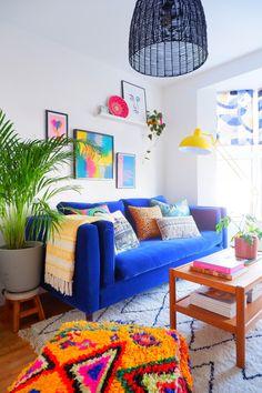 Diy Interior, Living Room Interior, Living Room Decor, Interior Stylist, Mexican Interior Design, Funky Home Decor, Diy Home Decor, Modern Decor, Colorful Apartment