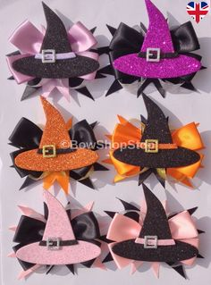 Halloween Hair Bow Witches Hat Satin & Glitter Hair Bow Clip Halloween Witches Hat Satin & Glitter H Making Hair Bows, Diy Hair Bows, Diy Bow, Bow Hair Clips, Bow Clip, Ribbon Hair Bows, Ribbon Flower, Fabric Flowers, Halloween Accessories