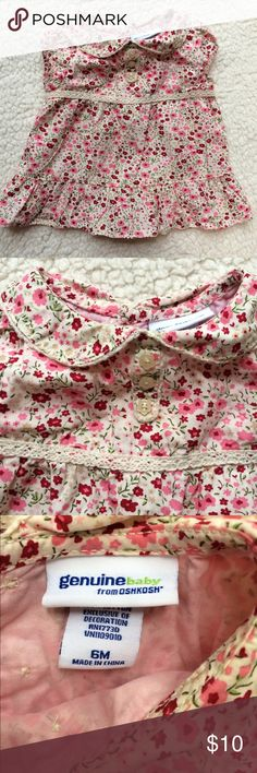 Osh Kosh Floral Collar Baby Blouse Pink flowers and eyelet lace collared baby blouse! Super cute, great quality - Osh Kosh! Osh Kosh Shirts & Tops Blouses