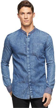 Calvin Klein Jeans Banded-Collar Shirt