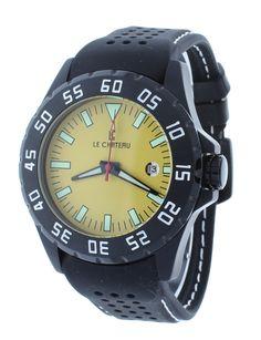 Le Chateau 7075-YBK Men's Yellow Dial Sports Automatic Miyota Watch Rubber Strap