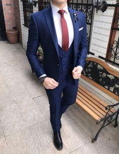 Terziademaltun - İtalyan style erkek ceket yelek pantolon parlement mavi takım elbise T2184 (1) New Mens Fashion, Mens Fashion Suits, Blazer Outfits Men, Blazer Jeans, Men Blazer, Casual Outfits, Blue Coat Pant, Tailor Made Suits, Blue Suit Men
