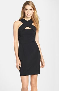 Cynthia Steffe 'Parker' Cross Neck Ponte Sheath Dress available at #Nordstrom
