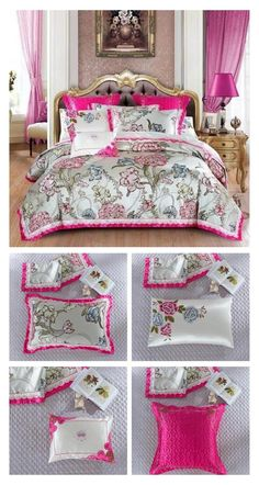 Shop this Luxury Bedding Set at ProminentEmporium.com with FREE Worldwide Shipping. Improve your overall bedroom decor with minimum effort and create a more luxurious home for luxury living. This special Luxury Bedding Set is available with 10 Pieces Set so that you can turn your bed into a beautiful decor piece with minimum effort and create the perfect bedroom decor for yourself. #luxury #luxurybedroom #luxurybed #bedding #duvet #duvetcover #luxuryduvet #luxurybedding