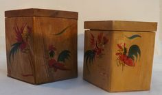 Vintage 1950 s Hand Painted With Roosters Wooden Hexagon Kitchen Containers