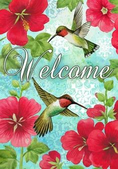 Hummingbird and Hollyhock Cottage Flying Flag, Decoupage Paper, Decoupage Ideas, Stained Glass Designs, Hollyhock, Garden Flags, Bird Art, Pictures To Paint, Welcome