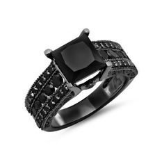 Engagement Ring 5.00 Carat (ctw) Black Rhodium Plated 18K White Gold... (18.904.870 IDR) ❤ liked on Polyvore featuring jewelry, rings, white, black diamond ring, 18k white gold ring, round engagement rings, engagement rings and white gold engagement rings