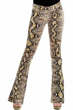 "JUST CAVALLI Logo, Print, Low waisted, Straight-cut leg, Button &zip fly closure, Printed pattern, Multi-pocketed, Boot-cut leg yellow [Art. ""S04LA0008 N35232 001""]."