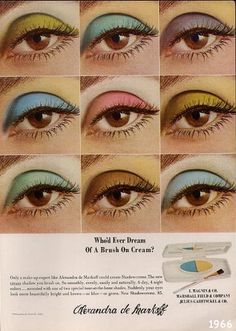 Vintage Makeup Vintage beauty ad campaign for stunning eye colors from Alxandra de Markoff Vintage Makeup Ads, Retro Makeup, Vintage Beauty, 1970s Makeup Eyes, 70s Disco Makeup, Sixties Makeup, Twiggy Makeup, Beauty Ad, Beauty Makeup