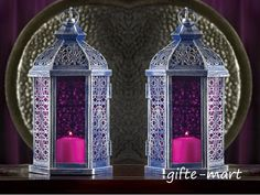 """2 lot PURPLE Moroccan 11"""" tall Candle holder Lantern light outdoor terrace patio #Unbranded #Moroccan #TeaLightHoldervotivecandle"""