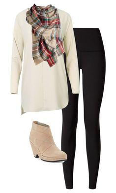 #fall #outfits / Long Sleeve Shirt + Plaid Scarf