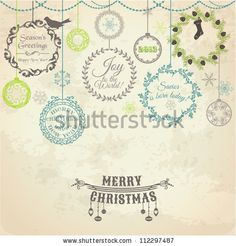 Vintage Christmas Card - for design and scrapbook - in vector by Woodhouse, via ShutterStock