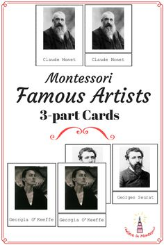 I Believe in Montessori: Art Appreciation: Level Matching famous artists cards activity Montessori Practical Life, Montessori Education, Montessori Classroom, Montessori Materials, Montessori Activities, Art Classroom, Art Education, Monet, Georgia