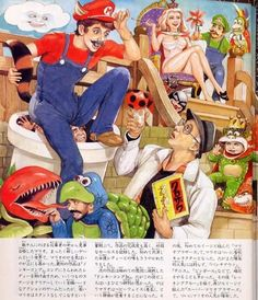 here is some art by Goujin Ishihara (one of Japan's great pulp illustrators, from an old ass issue of Famicom Tsushin magazine. The piece is called Mario Brothers no Seishun. Comic Books Art, Comic Art, Right Brain, Mario Brothers, Vintage Comics, Super Mario Bros, Graphic Design Typography, Funny Cute, Illustrators
