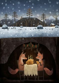 Winter Foxes Art Print by Chuck Groenink @lauren winter. Reminded me of you guys. (minus the turkey)