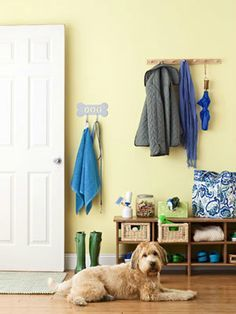 Make Your Entryway Pet-friendly  Start with the entry way, foyer or hall. Wherever you go in and out with your pet makes the perfect place to store everything while keeping it handy. Use a bench with cubby holes to organize toys in wicker bins, keep shoes out of the way, and add some cute wall hooks for leashes and a towel to help wipe those muddy paws when you come in!