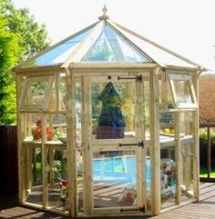 Pressure Treated Octagonal Greenhouse 683 - Hinged Door